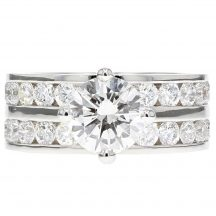 Brilliant Cut Diamond Double Band Engagement Ring 1.71ct