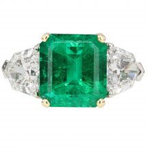 Emerald & Diamond Three Stone Ring 4.53ct