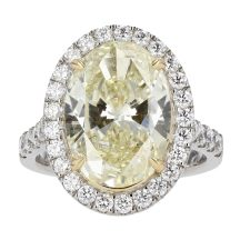 Fancy Light Yellow Oval Cut Diamond Ring 4.79ct