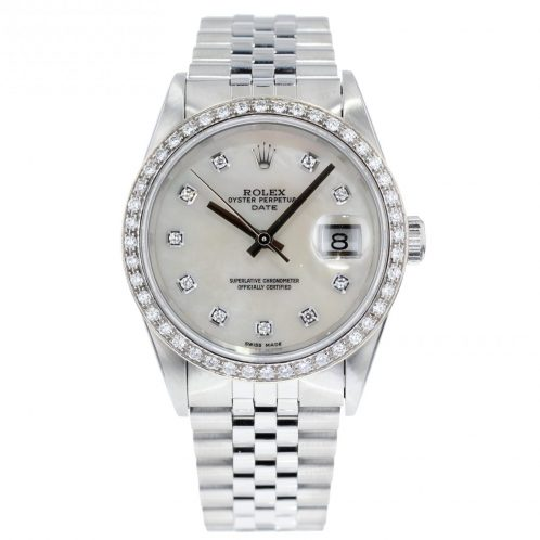 36mm Rolex Date With Mother Of Pearl Diamond Dial