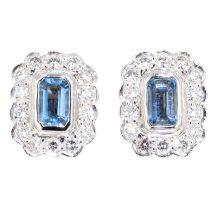 Aquamarine & Diamond Cluster Earrings 0.50ct