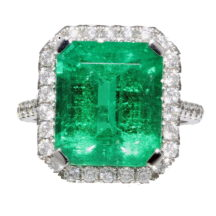 Colombian Natural Emerald and Diamond Halo Ring