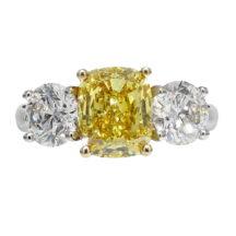 Fancy Vivid Yellow Diamond 3 Stone Ring