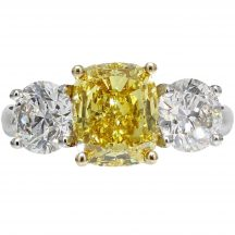 Fancy Vivid Yellow Diamond 3 Stone Ring 3.07ct