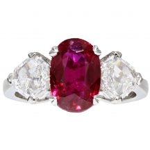 Pigeon Blood Ruby and Diamond 3 Stone Ring