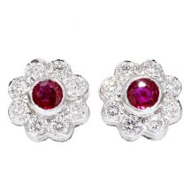 Ruby And Diamond Cluster Earrings