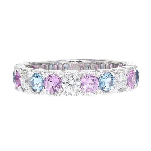 Diamond, Pink Sapphire And Aquamarine Eternity Ring
