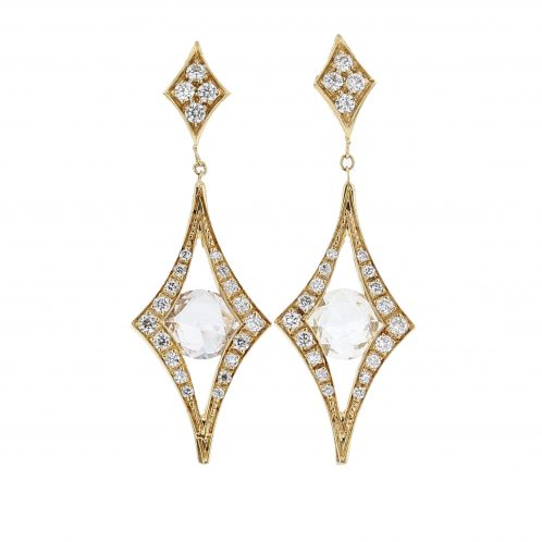 Sapphire & Diamond Yellow Gold Earrings