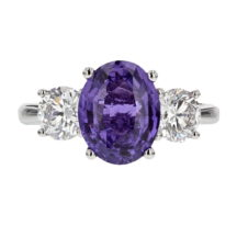 Natural Purple Sapphire and Diamond 3 Stone Ring