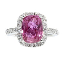 Natural Pink Sapphire Halo Ring