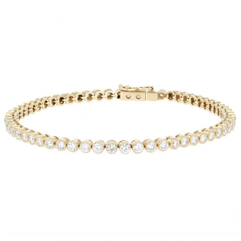 Brilliant Cut Diamond Line Bracelet In Yellow Gold 3.20ct