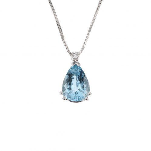 Pear Shape Aquamarine & Diamond Pendant 0.65ct