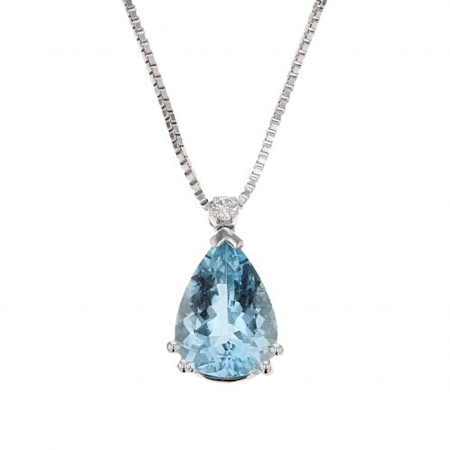 Aquamarine And Diamond Pendant 2.60ct