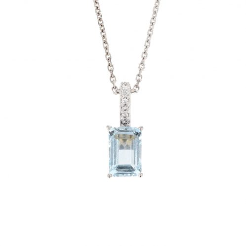 Aquamarine And Diamond Pendant 0.70ct