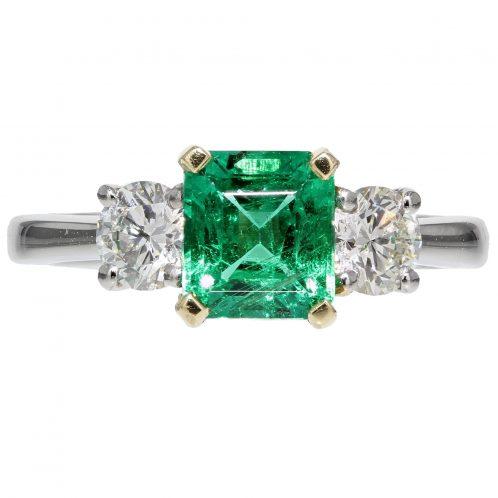 Emerald and Diamond 3 Stone Ring