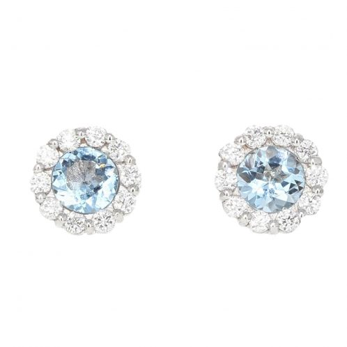Aquamarine & Diamond Earrings 1.06ct