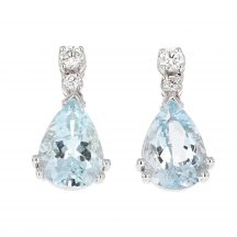 Aquamarine & Diamond Drop Earrings 3.40ct