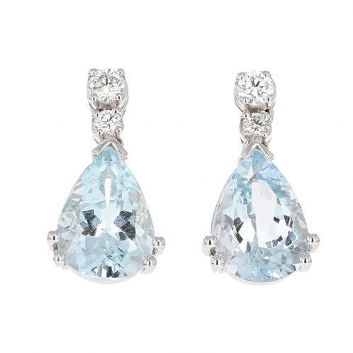 Aquamarine & Diamond Drop Earrings 3.40ct