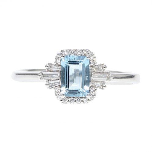 Aquamarine & Diamond Ring 0.70ct