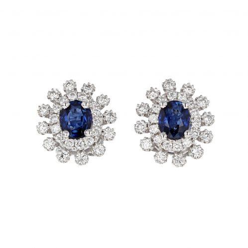 Sapphire & Diamond Cluster Earrings 0.66ct