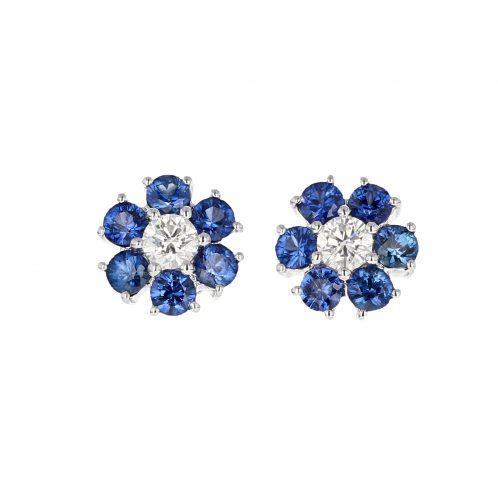 Sapphire & Diamond Flower Earrings 1.43ct