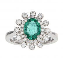 Oval Cut Emerald & Diamond Ring 1.21ct