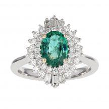 Oval Cut Emerald & Diamond Ring 1.01ct