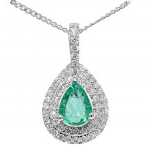 Pear Shape Emerald and Diamond Pendant
