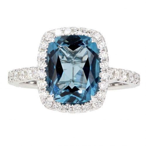 London Blue Topaz & Diamond Ring 3.04ct