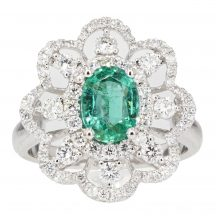 Emerald & Diamond Cluster Ring 1.08ct