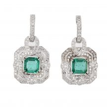 Emerald & Diamond Earrings 2.26ct