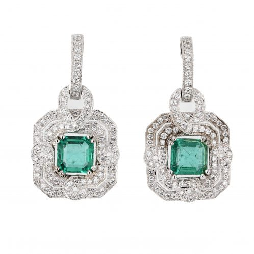 Emerald & Diamond Earrings 2.26ct