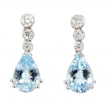 Aquamarine And Diamond Drop Earrings 3.40ct
