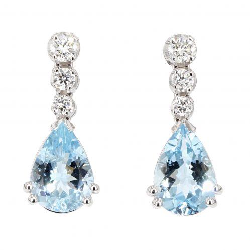 Aquamarine And Diamond Drop Earrings 3.40ct
