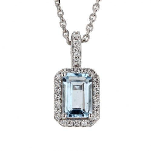 Emerald Cut Aquamarine & Diamond Pendant 1.00ct