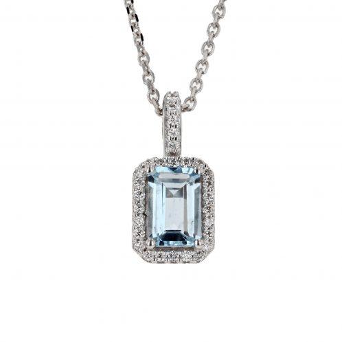 Emerald Cut Aquamarine & Diamond Pendant 0.70ct