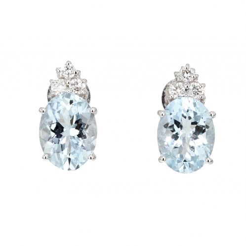 Oval Aquamarine And Diamond Earrings 2.30ct