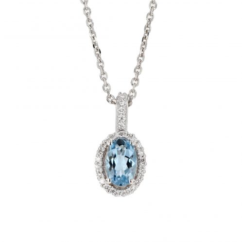 Oval Cut Aquamarine & Diamond Pendant 0.50ct