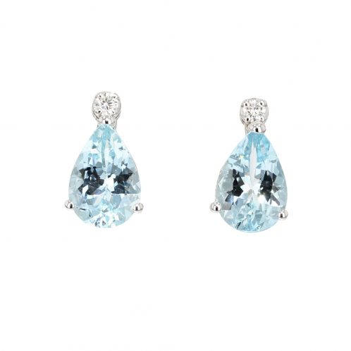 Aquamarine And Diamond Drop Earrings 1.30ct