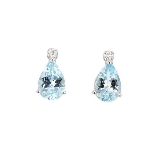 Aquamarine And Diamond Drop Earrings 0.90ct