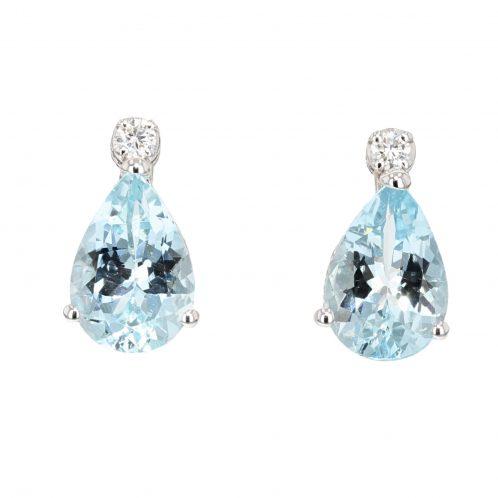 Aquamarine And Diamond Drop Earrings 2.20ct