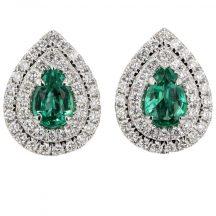 Emerald & Diamond Pear Shape Earrings 0.77ct