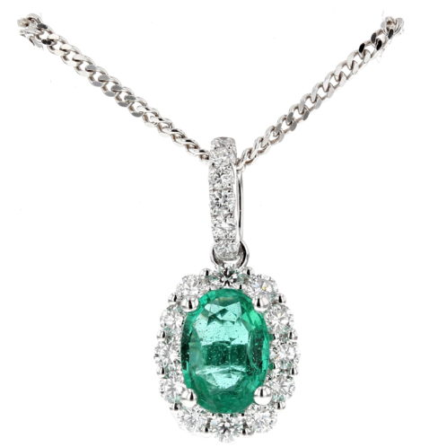 Emerald and Diamond Cluster Pendant (Large Size)