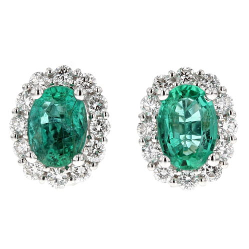 Emerald and Diamond Cluster Earrings (Large Size)