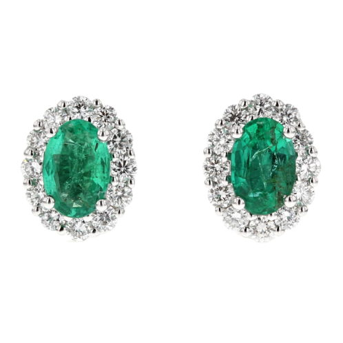 Emerald and Diamond Cluster Earrings (Medium Size)