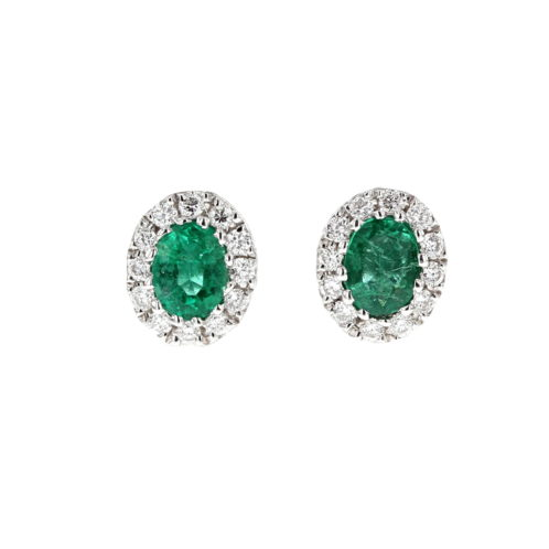 Emerald and Diamond Cluster Earrings (Small Size)