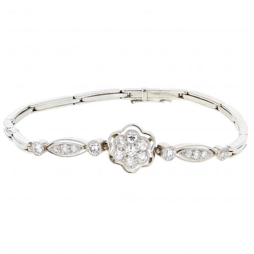 Circa 1900's Diamond Flower Bracelet