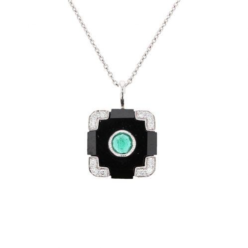 Onyx And Emerald Art Deco Pendant
