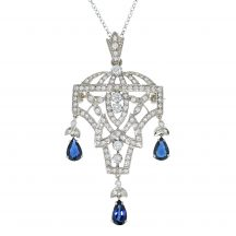 Art-Deco Design Diamond and Sapphire Pendant/Brooch