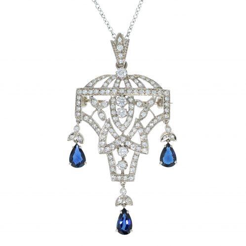 Art-Deco Design Diamond and Sapphire Pendant/Brooch